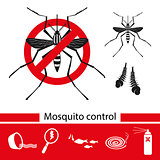 Mosquito control tools icons set, vector illustration.