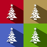 Christmas tree icon with star set with shade