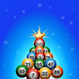 Christmas bingo lottery balls tree on blue background