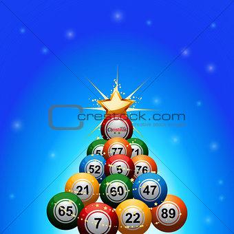 Christmas bingo lottery balls tree on blue background