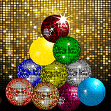 Disco balls Christmas tree on disco wall