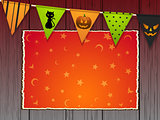 Halloween background with bunting and panel on wood