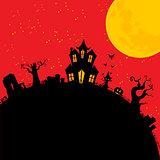 Halloween creepy house cartoons style