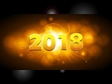 Twenty Eighteenth New Years on golden glowing panel