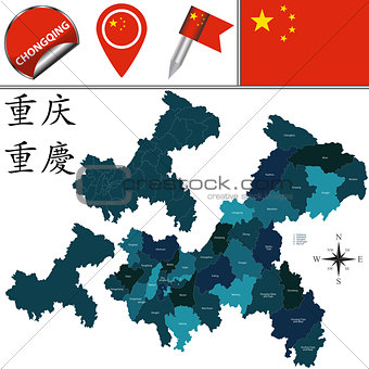 Map of Chongqing with Divisions