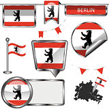 Glossy icons with flag of Berlin