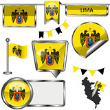 Glossy icons with flag of Lima