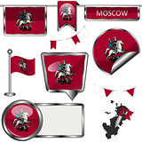 Glossy icons with flag of Moscow