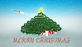 Snowy Christmas Background. Gifts under Christmas Tree and flyin