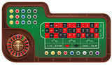 Casino gambling roulette table and chips