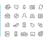 Social Network Icon Set // Blue Line Series