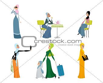 Six beautiful arab women