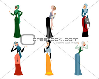 Six different arab women