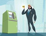 Arab businessman and bank card