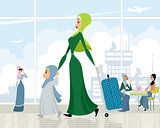 Arab women at the airport