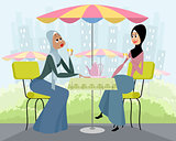 Arab women in cafe