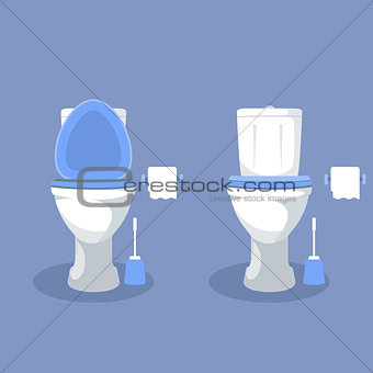 Toilet bowl with open toilet seat, paper and brush - wc