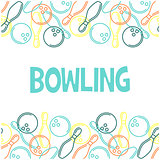 Seamless bowling pattern with outline of skittles and bowling ba