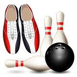 Bowling shoes, skittles and ball - bowling championship poster