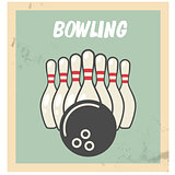Retro bowling party flyer with skittles and ball