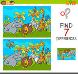 spot the differences game with safari animals