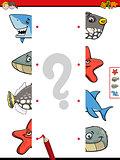 match animal halves cartoon game