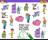 find two the same pictures cartoon game