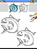 drawing and coloring worksheet with fish