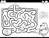 maze activity coloring book wit mole animal