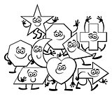 Cartoon Geometric Shapes coloring page