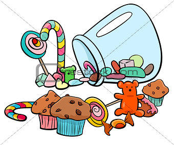 candy group cartoon illustration