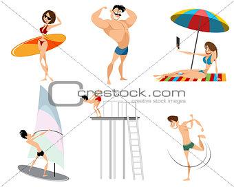 Six beach characters