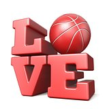 Word LOVE with basketball ball 3D
