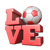 Word LOVE with football soccer ball 3D