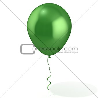 Green balloon with ribbon