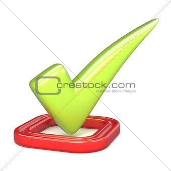 Green correct check mark in red square. 3D