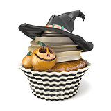 Halloween muffin with Jack O'Lantern and witch hat 3D