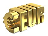 Euro EUR golden currency sign 3D