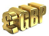 Pound sterling GBP golden currency sign 3D