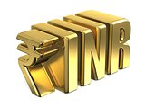 Indian Rupee INR golden currency sign 3D