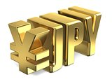 Japanese yen JPY golden currency sign 3D