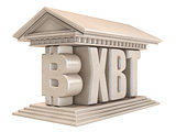 Bitcoin XBT currency sign temple 3D