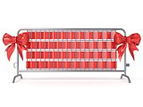 Steel barricades with red ribbon bows. Front view. 3D