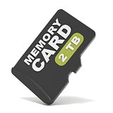 MicroSD memory card, front view 2 TB. 3D