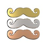 Gold, silver and bronze mustache. 3D