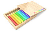 Wooden box with colorful pencils. 3D