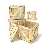 Wooden boxes. 3D