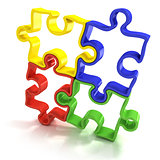 Four colorful outlined jigsaw puzzle pieces