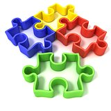Four colorful outlined jigsaw puzzle pieces. Isolated