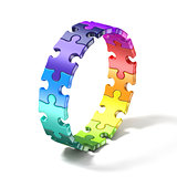 Colorful puzzle ring 3D